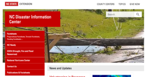 Image of NC Disaster Information Center page